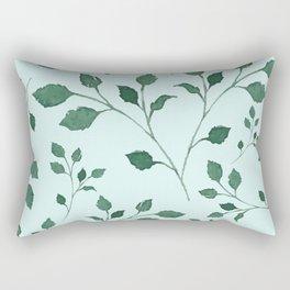 Light Cyan Soft Mint Green Leaves Greenery Pattern Modern Décor Rectangular Pillow
