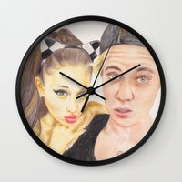 ariana grande Wall Clocks featuring Ariana and Justin by Share_Shop