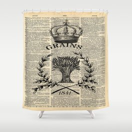 librarian book dictionary print vintage crown french farmhouse wheat bouquet Shower Curtain