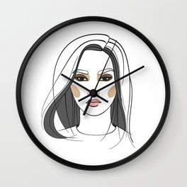 Asian woman with long hair. Abstract face. Fashion illustration Wall Clock