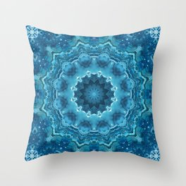 Blue mandala . Kaleidoscope . Winter . Throw Pillow