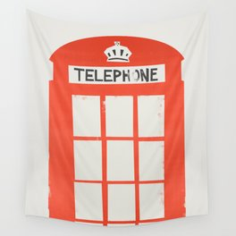 Red London Telephone Box Wall Tapestry