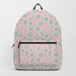 Nautical Symbol Toss in Preppy Pink + Seafoam Green Backpack