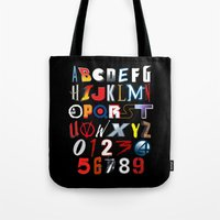 movies Tote Bags featuring 'M' is for 'Movies' by Andrew Treherne