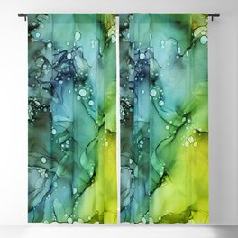 Green Blue Yellow Textures Ink Abstract Painting Blackout Curtain