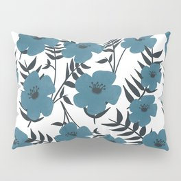 Blue Flowers with Banana Leaves Pillow Sham