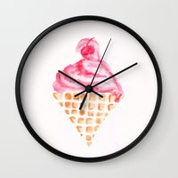 icecream Wall Clocks featuring ICECREAM by LAGOM
