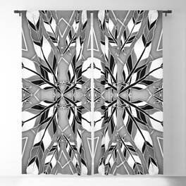 Mandala flower style feathers pattern in black and white with geometric diamond shapes  Blackout Curtain