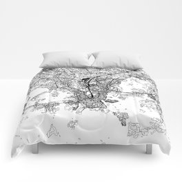 Helsinki White Map Comforters