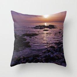 purple beach sunset Throw Pillow