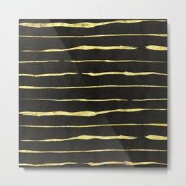 Gold Wiggly Stripes on Black Metal Print