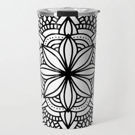 Black Mandala Geometric Ornate Design Travel Mug