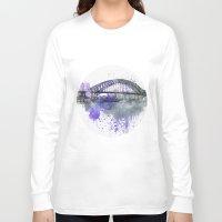 sydney Long Sleeve T-shirts featuring Sydney Harbor Bridge II by LebensART