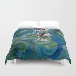 Blue Skelly Dude Duvet Cover