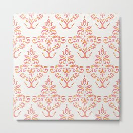 Hand Painted Watercolor Damask Pattern - Sunset Colors Metal Print