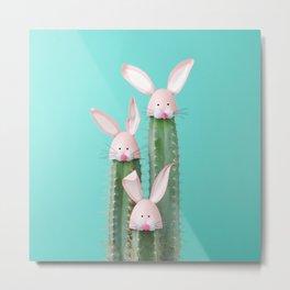 Bunny Cactus Metal Print