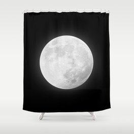 CHALK WHITE MOON Shower Curtain