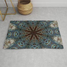 Fluid Nature - Chocolate Teal Mandala Style Design Rug