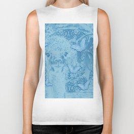 Ghostly alpaca with butterflies in snorkel blue Biker Tank