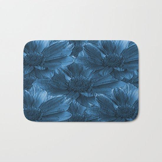 Blue Floral Abstract Bath Mat