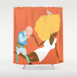 Afrodite and the jewellery maker, orange Shower Curtain