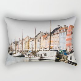The Row   City Photography of Boats and Colorful Houses in Nyhavn Copenhagen Denmark Europe Rectangular Pillow