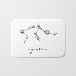 Aquarius Floral Zodiac Constellation Bath Mat