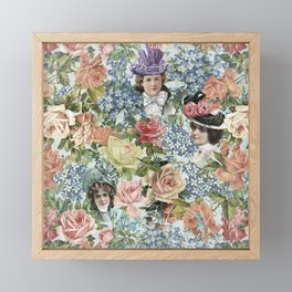 Vintage Botanical Flower Lady with Hut Pattern Framed Mini Art Print