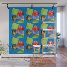 Painted Squares Jiggle - Blue Wall Mural