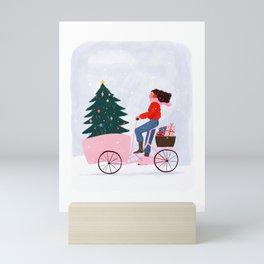 Christmas bicycle Mini Art Print