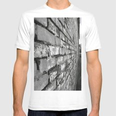 Brick Wall Mens Fitted Tee MEDIUM White