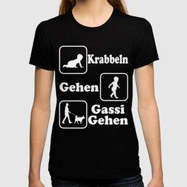 "A Perfect German Tee For Dog Lovers Saying ""Krabbeln Gehen Gassi Gehen"" T-shirt Design Dogs Pets Dog T-shirt"