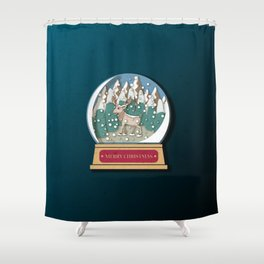 Merry Christmas Snowglobe Reindeer Shower Curtain