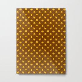 Amber Orange on Chocolate Brown Stars Metal Print