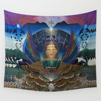 techno Wall Tapestries featuring Techno-Ma by MANASPHERE studio