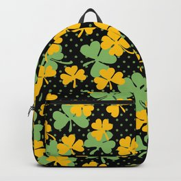 Black Yellow and Green Shamrock Clover St. Patrick's Day Backpack