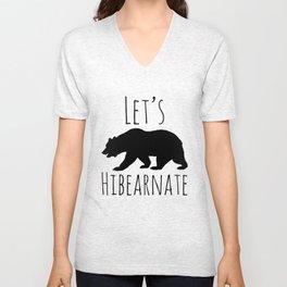 Let's Hibearnate Black Bear Unisex V-Neck