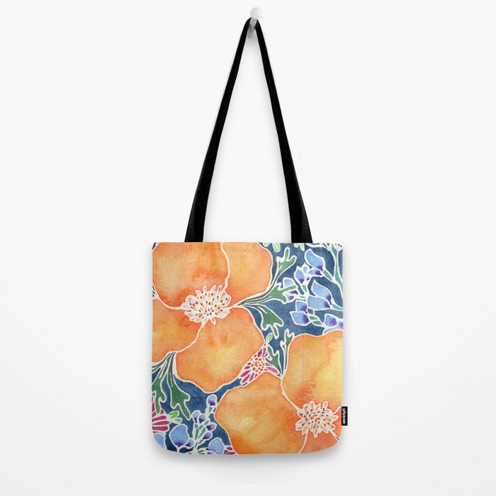 Masked Flora Collection Poppies Tote Bag