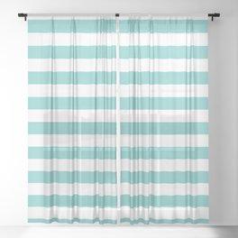 Horizontal Aqua Stripes Sheer Curtain