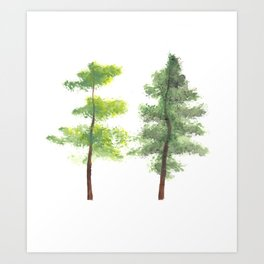 Twins by Essie Lee, nature print, landscape painting, trees, forest artwork, forest print, poster Art Print