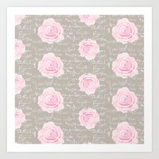 Watercolor roses on Taupe with French script Art Print