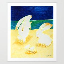 Bongo Bunnies Dancing in the Moonlight on the Beach Art Print