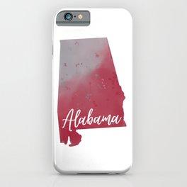 Alabama Map Watercolor Art Print iPhone Case