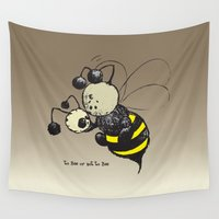 bee Wall Tapestries featuring to Bee or not to Bee by mangulica