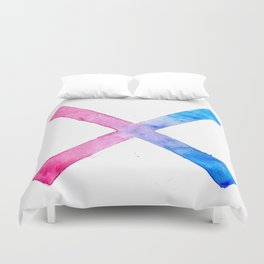 SUICIDE SQUAD HARLEY QUINN INSPIRED RED AND BLUE CROSS. Duvet Cover
