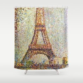 The Eiffel Tower, Paris, France by Georges Seurat Shower Curtain