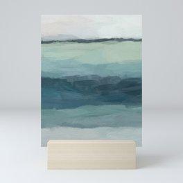 Seafoam Green Mint Navy Blue Abstract Ocean Art Painting Mini Art Print