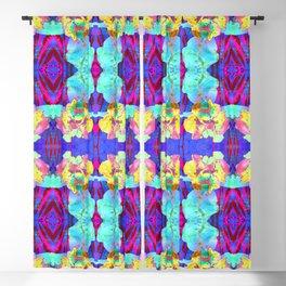 Fluorescent Watercolor Iris Art - Purple & Aqua Blue Blackout Curtain