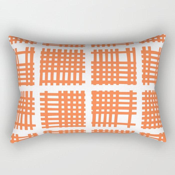 Mid Century Modern Abstract Squares Orange Rectangular Pillow
