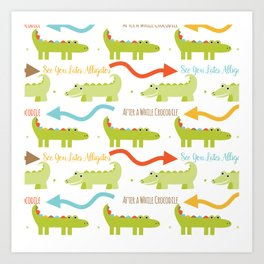 Alligator Crocodile Art Print